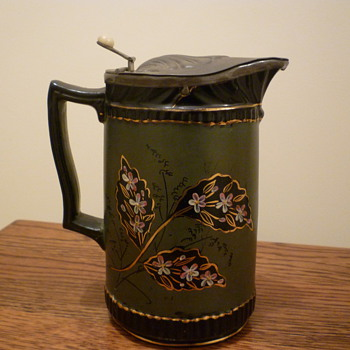 Pottery flaggon with pewter lid - China and Dinnerware