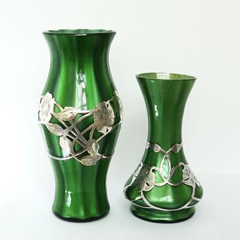 Loetz Green Metallin Vases with Alvin Sterling Silver Overlay - Art Glass