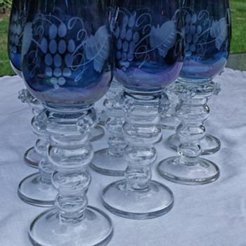 20thc Roemer Hock etched blue glasses applied prunts, Art Nouveau (1890-1914)