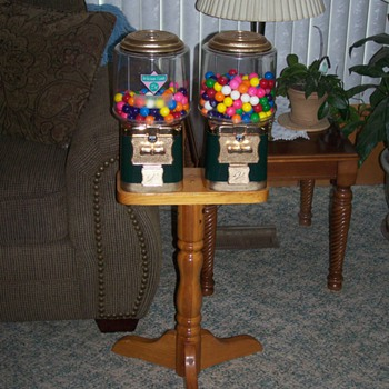 Dual Vendworx Candy/Gumball machine on Wooden Stand - Coin Operated