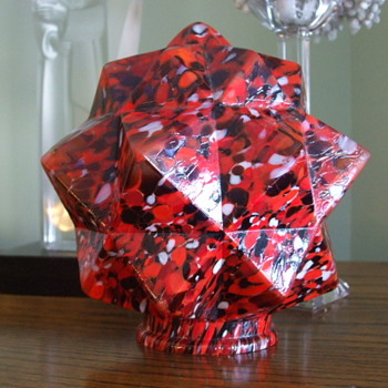 "Fiery Red with Black- Bohemian/Czech ""STAR""  Spatter Glass Lamp Shade - Art Glass"