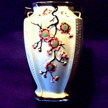 "6"" Japanese Ceramic Handled Vase / Raised Cherry Blossom Design / Unknown Mark/ Circa 1930's -40's 's - Asian"