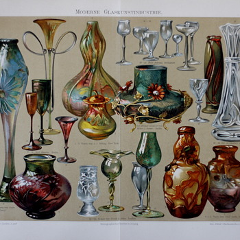 A Print Reflecting Art Glass Of The Period – An 1897 print issued by Bibliographisches Institut in Leipzig Germany - Art Glass