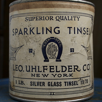 Vintage Uhlfelder Tinsel Container - Advertising