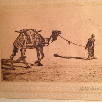 ink art camel, signed