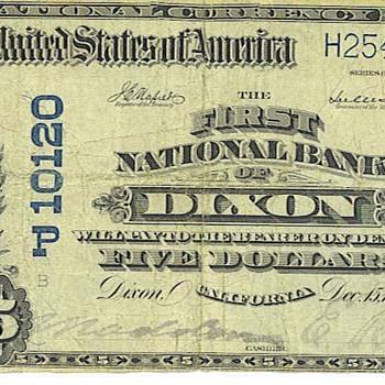 National bank of Dixon, Calif 1911 - US Paper Money