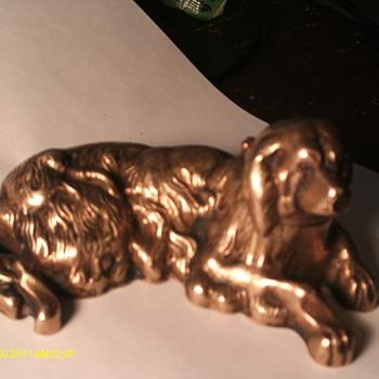 Brass Dog Inkwell