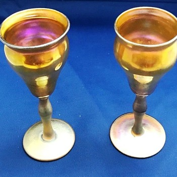 Pair Signed KEW BLAS Gold Iridescent Cordials c.1910. - Art Glass