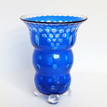 Loetz Cut Glass Ball-Footed Vase, Blue to Clear, c.1920 - Art Glass