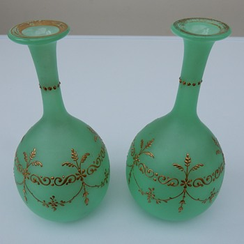 French Baccarat? frosted green opaline uranium vases. - Art Glass