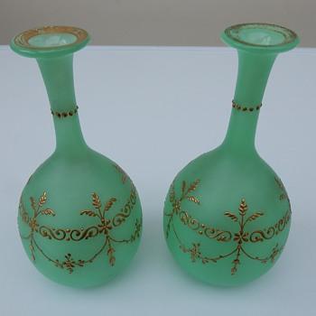 Pair of frosted green uranium vases. - Glassware