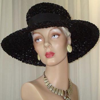 Wonderful Wide Brim Black Woven Straw Hat With B&W Ribbon - Hats