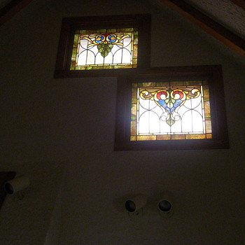 set of stained glass at the top of my kitchen wall  - Art Glass
