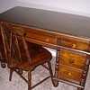 Early 1920's Maple Desk & Chair With Glass Top