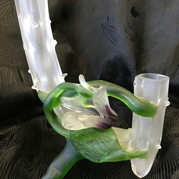 Bohemian Art Nouveau double thorn vase with applied flower - Art Glass