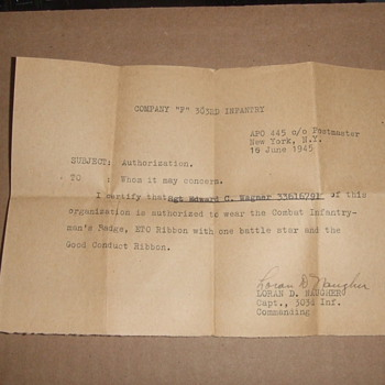 WW2 Authorization to wear a Combat Infantryman's Badge - Military and Wartime