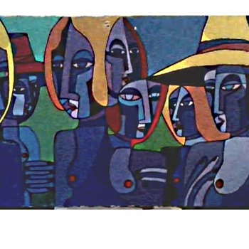 """Seven Women"" By Bisset /27"" x 36"" Oil-Acrylic on Canvas /Circa 1998 - Fine Art"