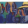 """Seven Women"" By Bisset /27"" x 36"" Oil-Acrylic on Canvas /Circa 1998"