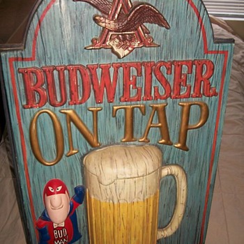 Clint's Vintage Bud Man Budweiser Sign - Breweriana