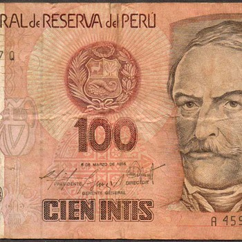 Peru - (100) Intis Bank Note