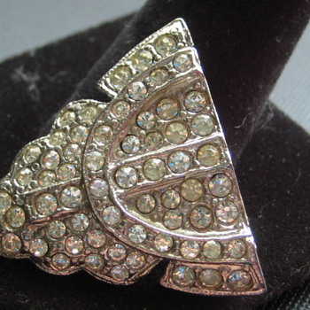 Vintage Rhinestone Shoe or Fur Clip - Costume Jewelry
