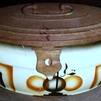 Thrift Shop find Art Deco Glass dish with a Tin Lid