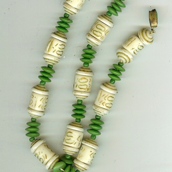 Unknown Vintage Ivory? and Bead Necklace