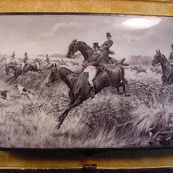 Equestrian Hunting Themed Antique Enamel, Silver & Gold Cigarette Case - Tobacciana