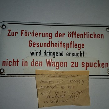 "porcelain antique rail car sign in German ""dont spit in the wagon"" - Railroadiana"