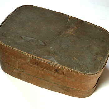 ancienne boîte en copeaux - boîte àouvrage fin XIXe - Sewing