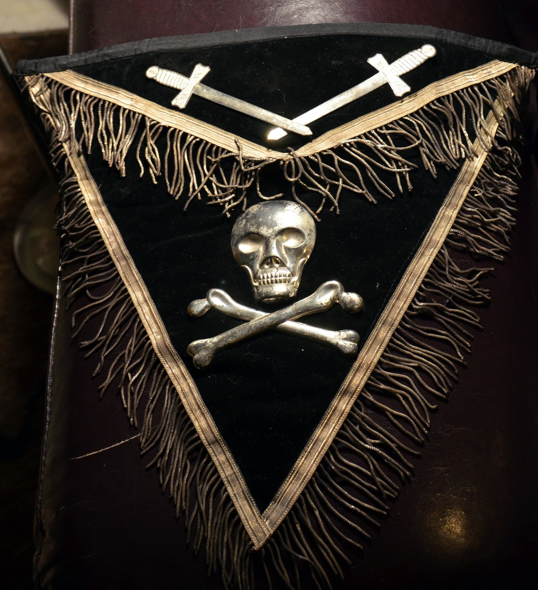 Image result for old Knights Templar apron with the Skull and Crossbones