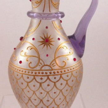 Lobmeyr Enameled & Jeweled Ewer c.1890 - Art Glass