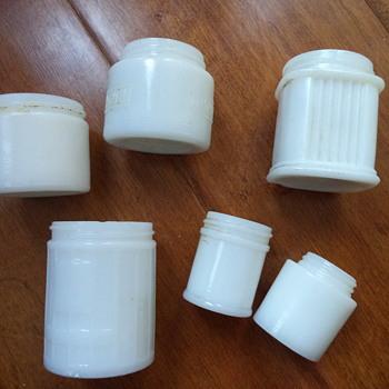 Vintage Milk Glass Jars - Glassware