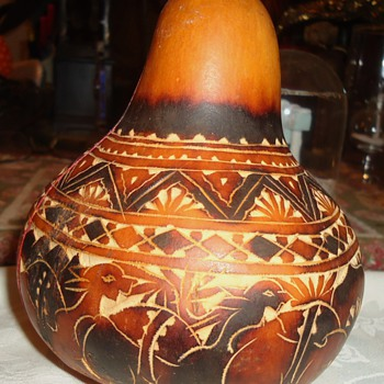 "YES!  Too early for Christmas!  but Peru Christmas Gourd, folk art 5"" tall - Folk Art"