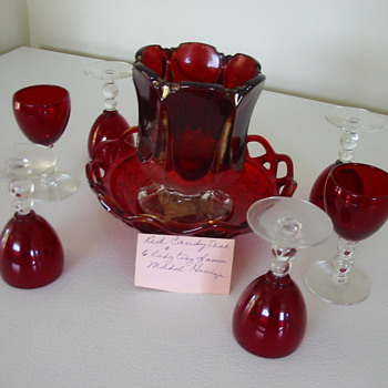 Old Red Glass pieces - Glassware