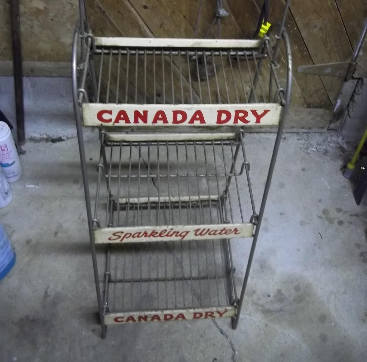 "Canada Dry 50"" Tall Steel Wire Three Level Shelf Rack"