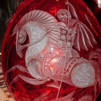 St. George Killing The Dragon Russian Crystal  - Art Glass