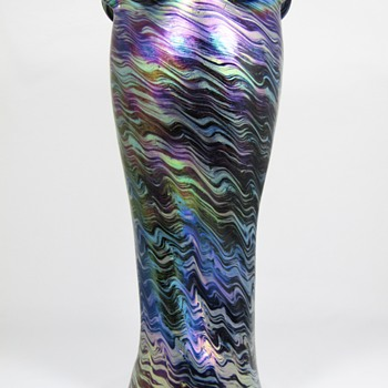 "Rindskopf Cobalt ""Striated"" Glass Vase ca. 1900 - Art Glass"