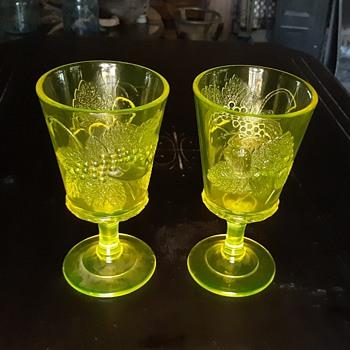 L. G. Wright Vaseline Glass Goblets Three Fruits Pattern - Glassware