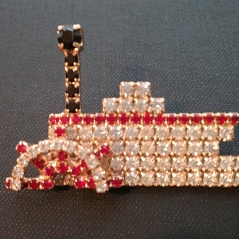 Bauer paddleboat brooch  - Costume Jewelry