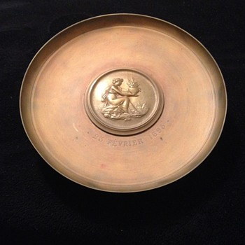 Heavy Brass Plate/Compote On Pedestal
