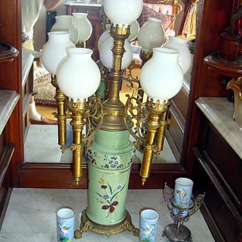 1880's Candelabra w 6 Flames Bristle Fireglow Glass - Lamps