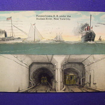 THE PENNA RR TUNNEL UNDER THE HUDSON RIVER POSTCARD MAILED IN 1922 - Railroadiana