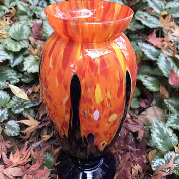 Large 1920s- 1930s Czech glass vase orange spatter with blue/black base - Art Glass