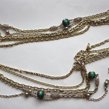 Chain Multi Strand Necklace signed Western Germany