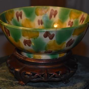 Large Awaji Sancai Bowl - probably 19th century Awaji - Pottery