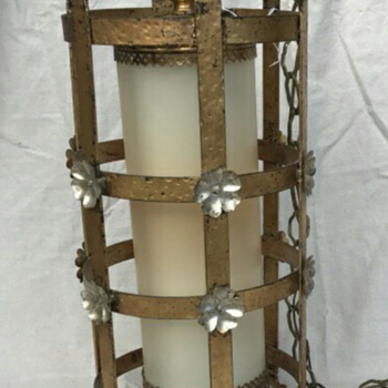 Medievalesque pendant lamp w/ cyclindrical white glass