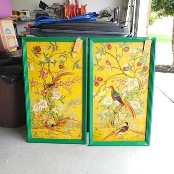 Hand painted wood panel Birds - Fine Art