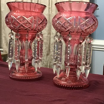 Pair of mantle lusters  - Glassware