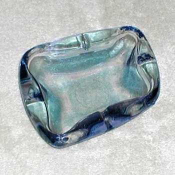 Blue Glass Ashtray - Art Glass